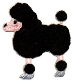 """C721005  Chenille Iron on Black Poodle Dog Embroidered Applique 2.5"""""""