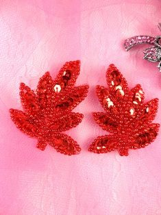 """AT8633 Red Leaf Mirror Pair Sequin Beaded Appliques 2"""""""