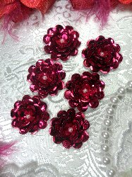 AT8900 Set of 6 Fuchsia Sequin Flower Pearl Appliques 1""