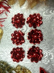 AT8900 Set of 6 Red Sequin Flower Pearl Appliques 1""