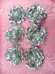 """AT8900 Set of 6 Silver Holographic Sequin Flower Pearl Appliques 1"""""""