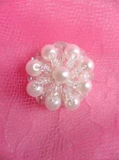 """ACT/FS02 Crystal AB White Floral Pearl Applique .75"""""""