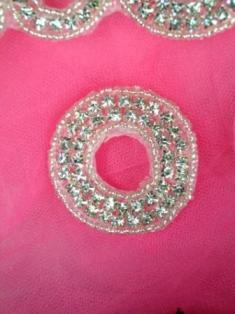 ATS4A Circle Silver Beaded Crystal Clear Rhinestone Applique 1.75""