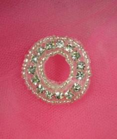 ATS4B Circle Silver Beaded Crystal Clear Rhinestone Applique 1.25""