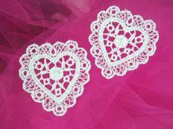 """F6  Set of 2 White Venise Lace Victorian Heart Appliques 2"""""""