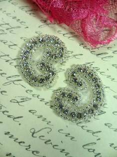 AXR105B Set of ( 2 ) Curled Crystal Clear Silver Beaded Rhinestone Appliques 1.25""