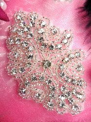 ACT/XR131 Baby Cinderella Crystal Rhinestone Beaded Applique 2-7/8""
