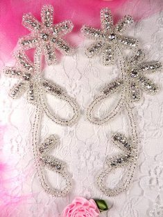 ACT/XR66DX Crystal Clear Silver Beaded Rhinestone Appliques Mirror Pair Floral 5.5""