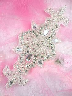 ACT/XR75/A Silver Beaded Crystal Rhinestone Applique 5.75""