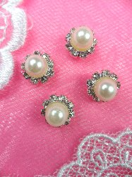 """ACT/N22 Set of ( 4 ) Flower Crystal Rhinestone Pearl Centered Metal Back Embellishment Accents .25"""""""