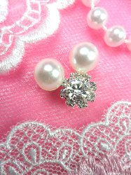 Act/N26 Mickey Ears Crystal Rhinestone Metal Back Pearl Mouse Embellishment Accents .5""