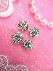ACT/N27 Set of ( 4 ) Mini Flower Crystal Rhinestone Metal Back Embellishment Accents .25""