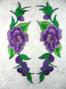 """GB295 Embroidered Appliques Purple Floral Mirror Pair 8"""""""