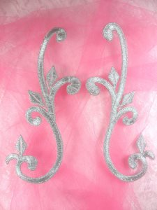 """Embroidered Appliques Silver Mirror Pair Scroll 6"""" GB364X"""
