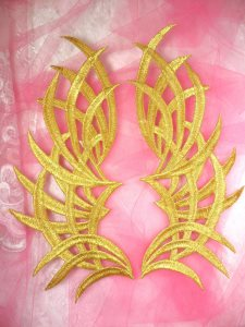 GB370 Embroidered Appliques Gold Mirror Pair Patch 9.5""