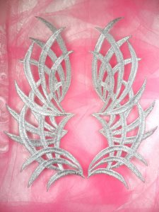 """GB370 Embroidered Appliques Silver Mirror Pair Patch 9.5"""""""