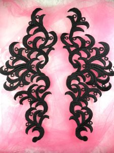 GB371 Embroidered Appliques Black Scroll Mirror Pair Patch 11.5""