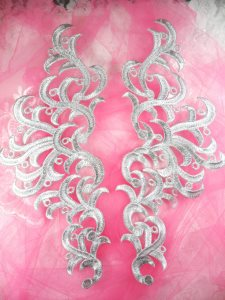 """GB371 Embroidered Appliques Silver Scroll Mirror Pair Patch 11.5"""""""