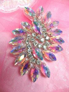 "JB234 Rhinestone Applique Aurora Borealis Marquise Swirl Crystal  2.5"""