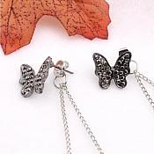 Butterfly Earrings Gun Metal Silver Black Dangle Backing Costume Jewelry JW71