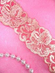 """BL10 Pink Floral Venice Lace Flower Trim 1.25"""""""