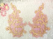 "Embroidered Appliques Gold Fuschia Metallic Mirror Pair Designer Scroll Motifs 10"" (BL100X)"