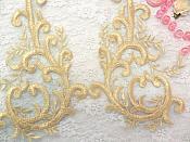 "Embroidered Appliques Gold Green Metallic Mirror Pair Designer Scroll Motifs 10"" (BL100X)"