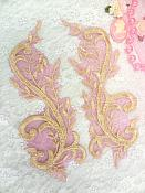 "Embroidered Appliques Gold Fuschia Metallic Mirror Pair Designer Scroll Motifs 9.5"" (BL101X)"