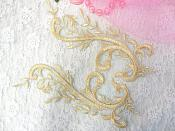 "Embroidered Appliques Gold Green Metallic Mirror Pair Designer Scroll Motifs 9.5"" (BL101X)"