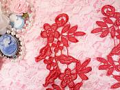 """Embroidered Floral Applique Mirror Pair Brick Red Clothing Patch Craft Motif 10"""" (BL106X)"""