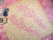 """Embroidered Floral Applique Mirror Pair Light Pink Clothing Patch Craft Motif 10"""" (BL106X)"""