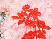 """Embroidered Floral Applique Mirror Pair Red Clothing Patch Craft Motif 10"""" (BL106X)"""