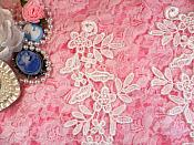 """REDUCED Embroidered Floral Applique Mirror Pair White Clothing Patch Craft Motif 10"""" RMBL106X"""