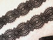 (REMNANT) Embroidered Lace Floral Trim Black (RMBL107)