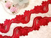 """Embroidered Lace Floral Trim Wine Scroll 2"""" (BL109)"""