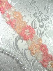 """BL11 Peach Floral Venice Lace Flower Trim .75"""""""