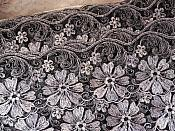 """Embroidered Lace Trim Floral Black Silver 3"""" (BL110)"""