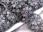 "Embroidered Lace Trim Floral Black Silver 3"" (BL110)"