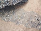 "REMNANT 12"" Embroidered Lace Trim Floral Light Blue"
