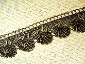 "Embroidered Lace Seashell Trim Black Metallic Gold 2.5"" (BL111)"