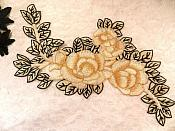 "Embroidered Floral Applique Beige Black Craft Patch Clothing Motif 12"" (BL115)"