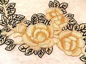 "Embroidered Floral Applique Beige Black Craft Patch Clothing Motif 12"" (BL115)"