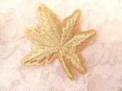 "Embroidered Leaf Applique Light Gold Clothing Patch Craft Motif 2"" (BL116)"