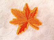 """Embroidered Leaf Applique Orange Clothing Patch Craft Motif 2"""" (BL116)"""