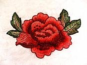 "Embroidered Floral Applique Red Rose Clothing Patch Craft Motif 5"" (BL117)"