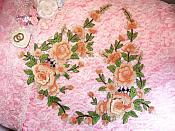 "Embroidered Floral 3D Applique Mirror Pair Light Peach Rose Patch Craft Motif 13.75"" (BL120X)"