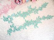"Embroidered Floral Applique Mirror Pair Mint Clothing Patch Craft Motif 12"" (BL121X)"