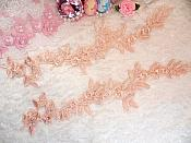 """Embroidered Floral Applique Mirror Pair Pink Peach Clothing Patch Craft Motif 12"""" (BL121X)"""