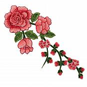 "Embroidered Floral 3D Applique Coral Red Rose Patch Craft Motif 12"" (BL122)"
