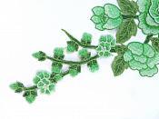 "Embroidered Floral 3D Applique Green Rose Patch Craft Motif 12"" (BL122)"